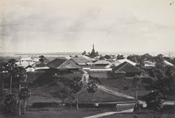 Flag Staff Pagoda, Rangoon, with European barracks in foreground